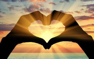Hand Heart Sunset